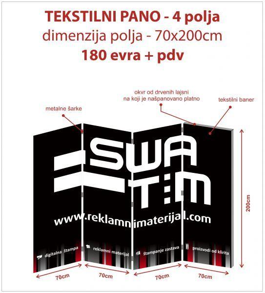 Proizvodi od tekstila - Reklamna ograda, mobilni pregradni zid, stampani mobilni zid