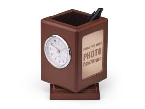 reklamni-materijal-swa-tim-reklamne-kutije za olovke-boja-braon-sa satom-PRIME